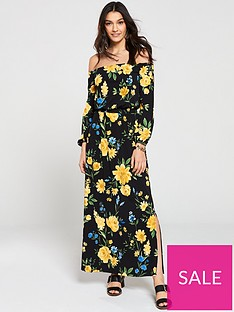 6ee35c16c1c7 V by Very Floral Jersey Bardot Maxi Dress - Print