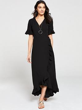 v-by-very-ruffled-wrap-front-maxi-dress-black