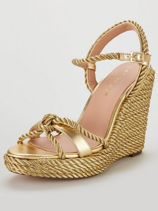 73d9e2db9f KURT GEIGER LONDON Neile Wedge Rope Metallic Slingback Sandal Shoes - Gold