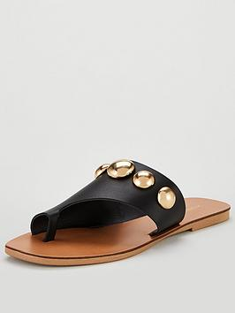 kurt-geiger-london-deenanbspmetal-flat-sandal-shoes-blackgold