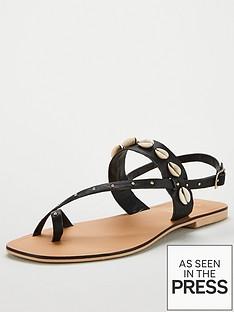 office-shell-toe-loop-flat-sandal-black