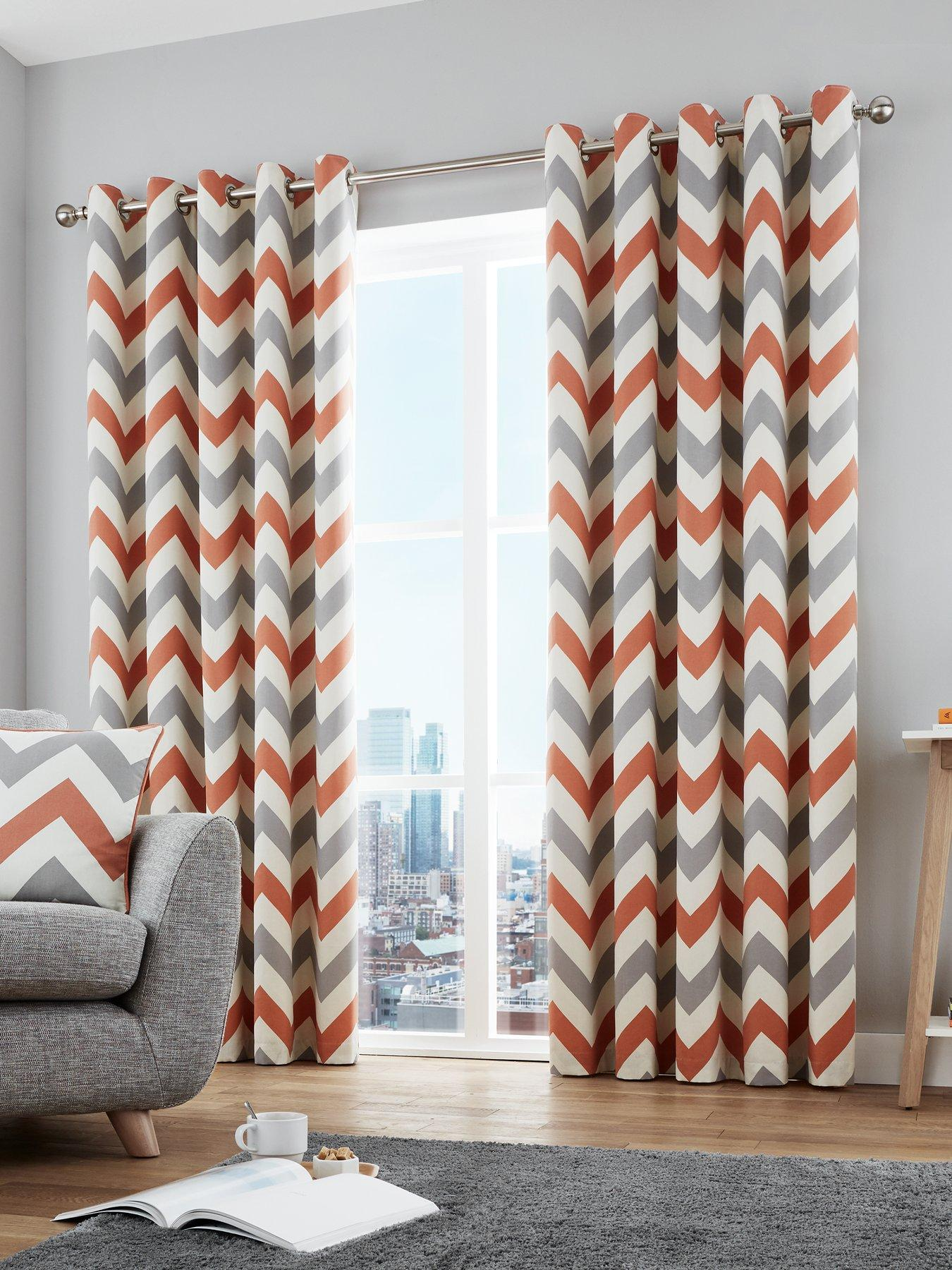 Fusion Brooklyn Geometric 100/% Cotton Fully Lined Eyelet Curtains Grey