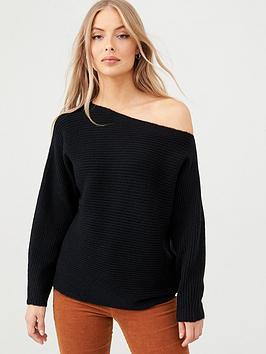 v-by-very-off-the-shoulder-horizontal-rib-jumper-black