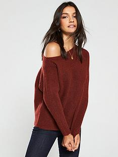 v-by-very-off-the-shoulder-horizontal-rib-jumper-rust