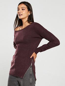 v-by-very-off-the-shoulder-slouch-zip-hem-longline-jumper-burgundy