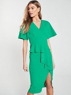 b91c5601847 V by Very Kimono Sleeve Ruffle Front Pencil Dress - Green