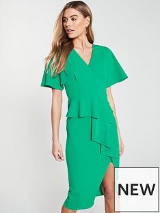 v-by-very-kimono-sleeve-ruffle-front-pencil-dress-green