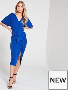 v-by-very-kimono-sleeve-ruffle-front-pencil-dress-blue