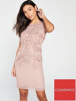 frock-and-frill-short-sleeve-embellished-shift-dress-blush