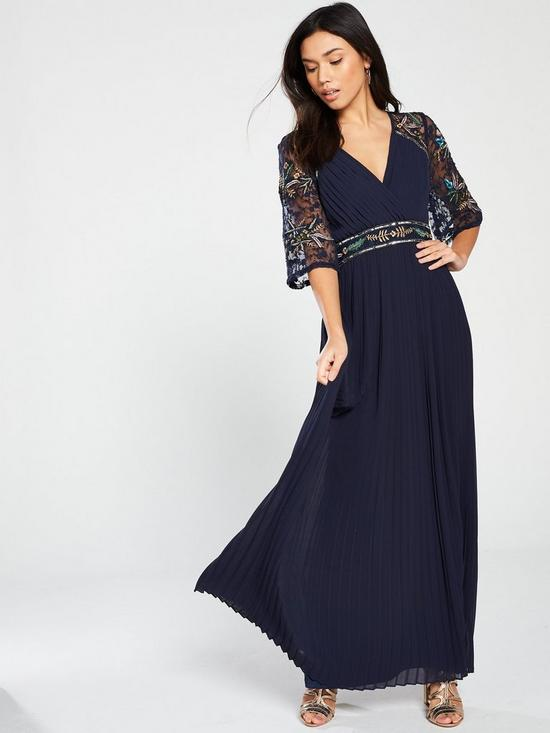 6f79591175fc Frock and Frill Embroidered Maxi Dress with Pleat Skirt - Navy ...
