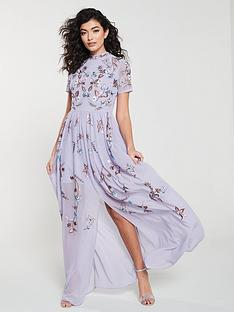 a2e686d3f9299 Frock and Frill Frock And Frill High neck floral embroidered maxi dress