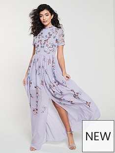 3449ad03135 Frock and Frill Frock And Frill High neck floral embroidered maxi dress