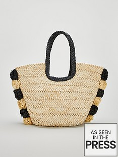 v-by-very-jace-straw-pom-pom-beach-bag