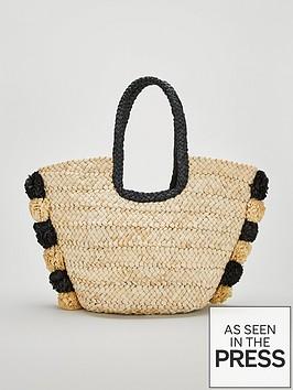 v-by-very-jace-straw-pom-pom-beach-bag