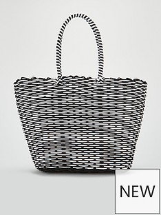 9cc2b7b19e3a V by Very Jacey Monochrome Plastic Tote - Black White