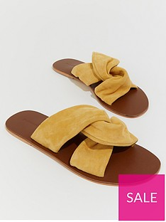 warehouse-suede-knotted-sandal