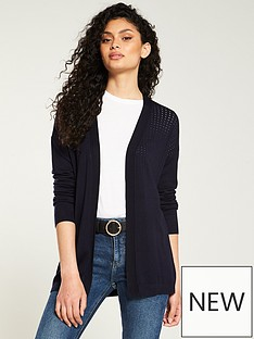 c95b0f33bdc V by Very Mesh Panel Edge To Edge Cardigan - Navy