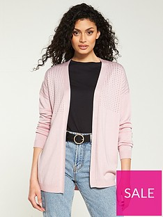 9b2dc31b1b V by Very Mesh Panel Edge To Edge Cardigan - Blush Pink
