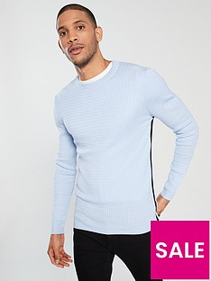 river-island-muscle-fit-cable-crew-neck-jumper