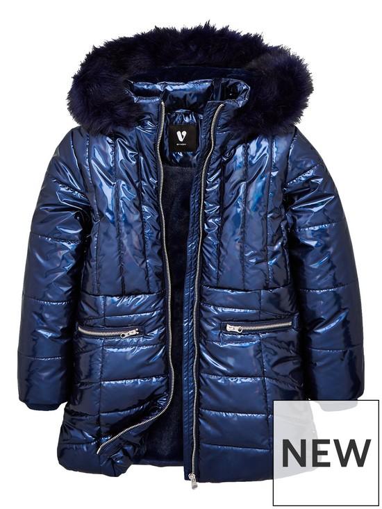 ea143874c7b0b V by Very Girls High Shine Faux Fur Hooded Coat - Navy   very.co.uk