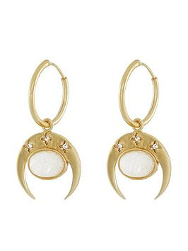accessorize-precious-stone-horn-hoops-gold