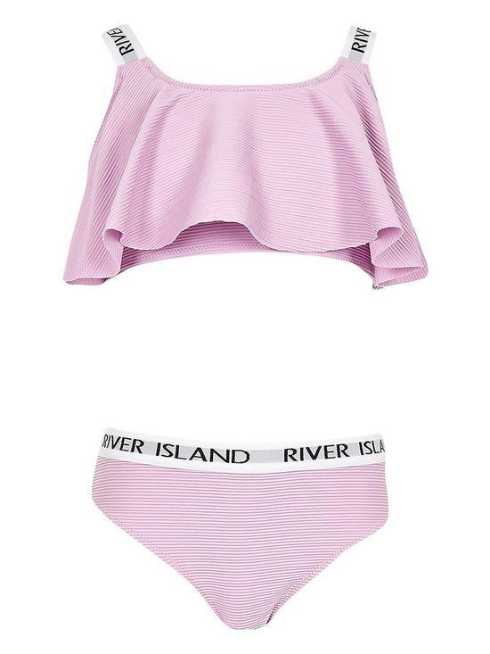 593bae00e River Island Girls Purple Ri Frill Bikini Set   very.co.uk