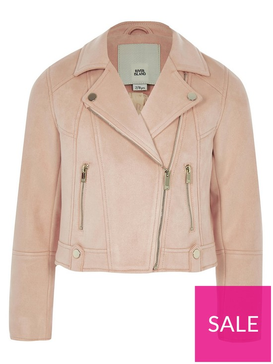 512b14ee4a47 River Island Girls Coral Faux Suede Biker Jacket | very.co.uk