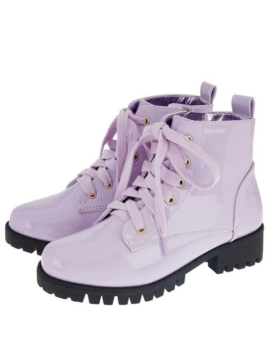 84ffc3d5d2a8f Monsoon Girls Elena Patent Lace Up Boot | very.co.uk