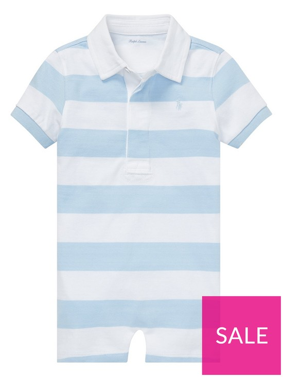 120ea4af8 Ralph Lauren Baby Boys Short Sleeve Stripe Polo Romper - Blue   very ...