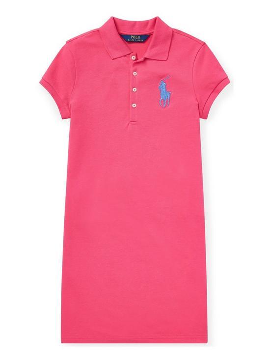 f86e79ec3 Ralph Lauren Girls Big Pony Polo Dress - Pink