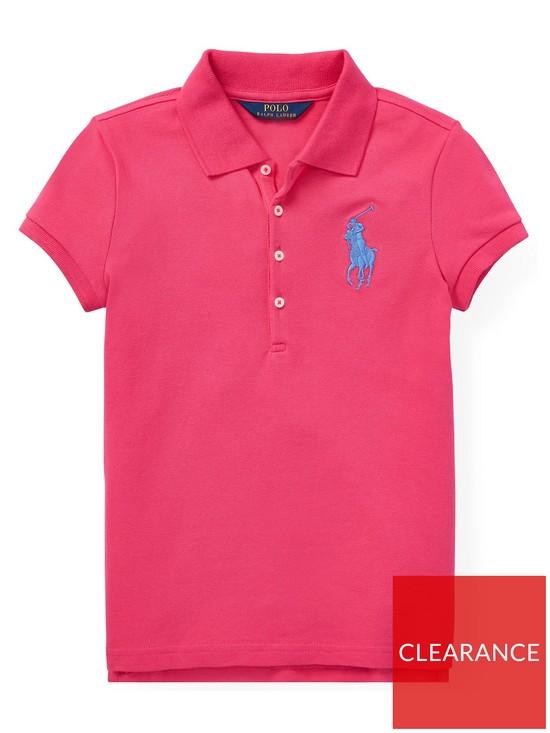 Girls Shirt Sleeve Polo Pink Big Pony Short hrQdst