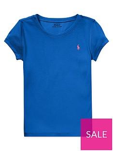 930a2cc82 Ralph Lauren Girls Classic Short Sleeve T-shirt - Blue