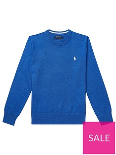 a2addec87 Ralph Lauren Boys Crew Neck Knitted Jumper - Blue