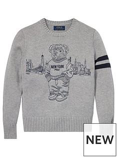 12fd4e4c313 Ralph Lauren Boys New York Bear Knitted Jumper - Grey