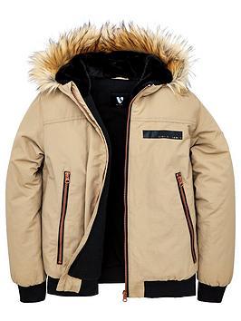 v-by-very-boys-faux-fur-trim-hooded-bomber-jacket-tan
