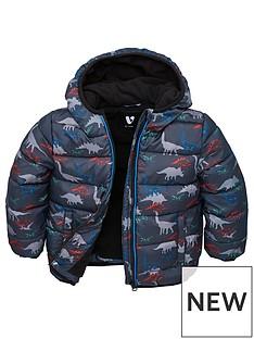 0e5d897c4 V by Very Boys Fleece Lined Dino Hooded Padded Jacket - Blue