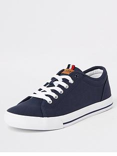 river-island-navy-canvas-lace-up-plimsolls