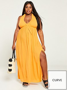 6ce4d5066800 V by Very Curve Crinkle Halter Neck Maxi Dress - Marigold