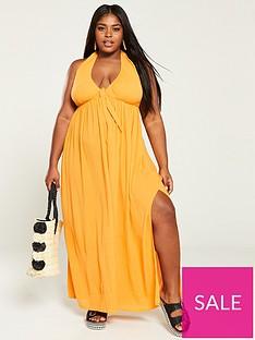 v-by-very-curve-crinkle-halter-neck-maxi-dress-marigold