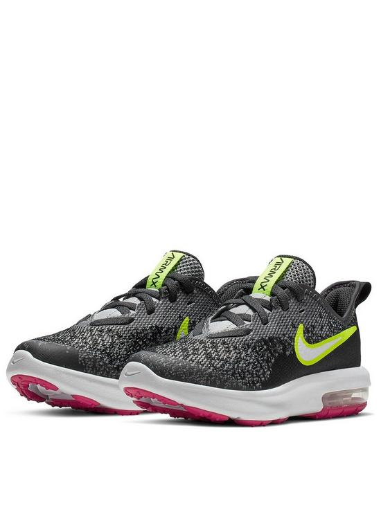 5f41d9138 Nike Air Max Sequent 4 Childrens Trainers - Grey/Volt | very.co.uk