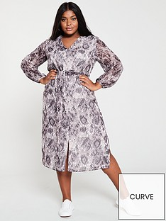 e214444bf7 V by Very Curve Button Front Midaxi Dress - Snake Print