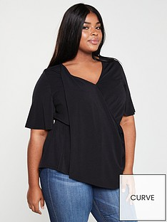 0e3b16f112c V by Very Curve Drape Front Jersey Top - Black
