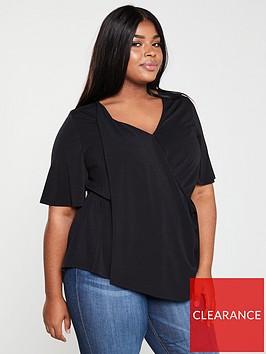 v-by-very-curve-drape-front-jersey-top-black