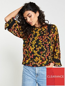 whistles-fifi-daisy-print-fluted-sleeve-top-yellow-multi