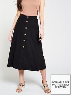 whistles-rib-jersey-button-skirt-black