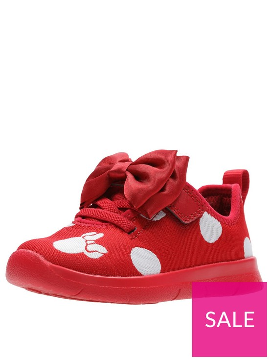 9eb1042052 Clarks Minnie Mouse Toddler Bow Trainer - Red | very.co.uk