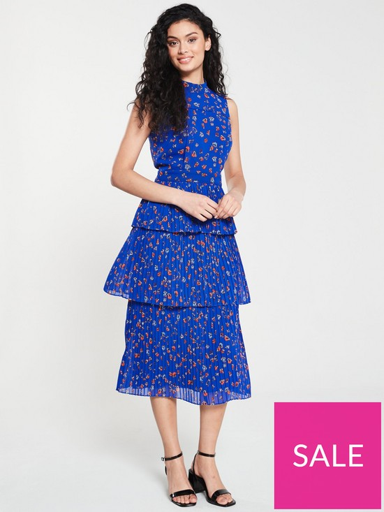cc3d67dae52df WHISTLES Ditsy Floral Pleated Tiered Dress - Blue | very.co.uk