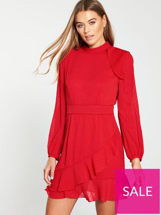 2c43857e0 WHISTLES High Neck Dobby Frill Dress - Red | very.co.uk