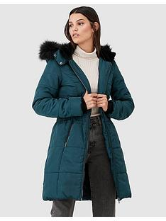 v-by-very-waist-detail-longer-padded-jacket-dark-green
