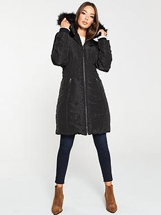 v-by-very-waist-detail-longer-padded-coat-black